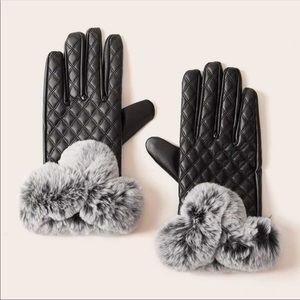 💃🏻Black Quilted Leather Gloves Fur Gloves